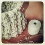 (GAllery) Hemp basket, needles and leather