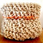(Gallery) Jute and orange jute trim soft knitted basket