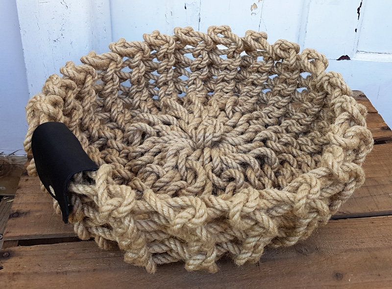 Workshop Product - Knitted Jute Tray Rope with Leather side Tab